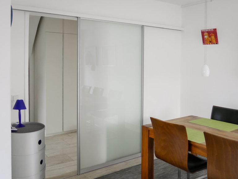Raumteiler Alu Glas matt